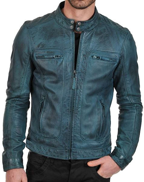 Mens teal colored European style fashion leather jacket
