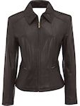 ladies brown leather coat