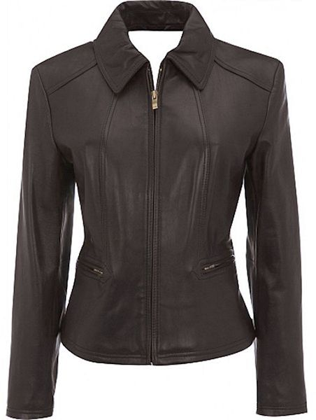 Ladies fashionable brown leather jacket or coat