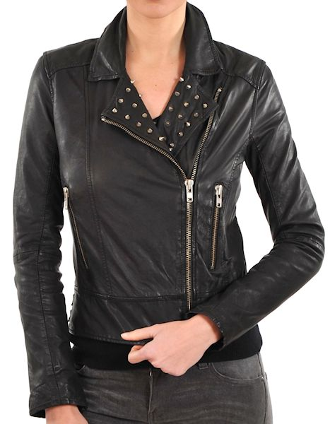 Ladies fashion motorcycle jacket with studs, buckles