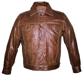 Mens retro brown denim style leather jacket