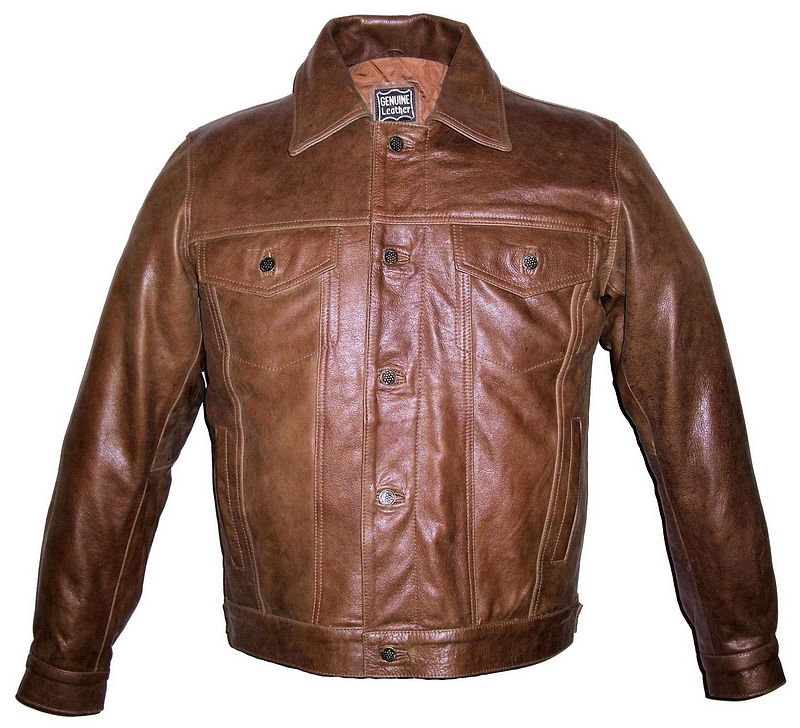 Mens Retro Brown Denim Style Leather Jacket Item RBDENIM | Leather ...