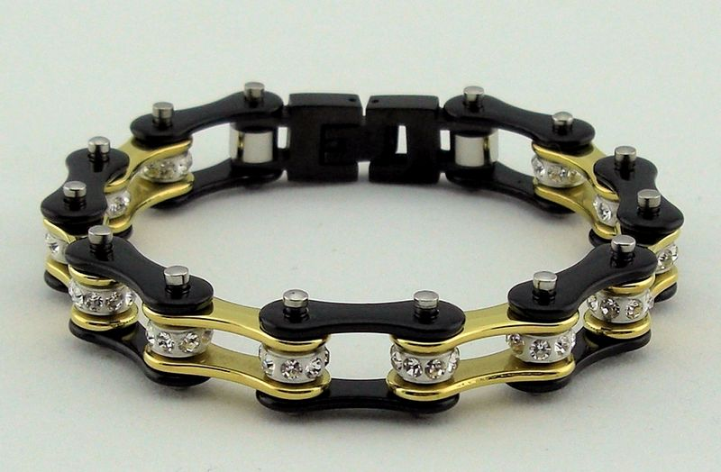 Beautiful Brand New Las Black Gold Stainless Steel Bike Chain Bracelet Has A Single Row Of White Crystals In The Center Made Highest Grade 316l