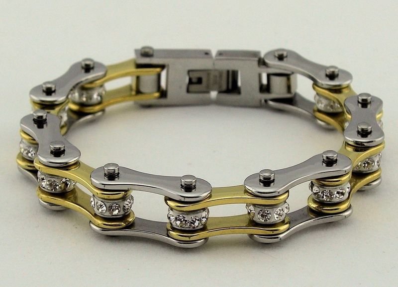 Beautiful Brand New Las Gold Silver Colored Stainless Steel Bike Chain Bracelet Has A Single Row Of White Crystals In The Center