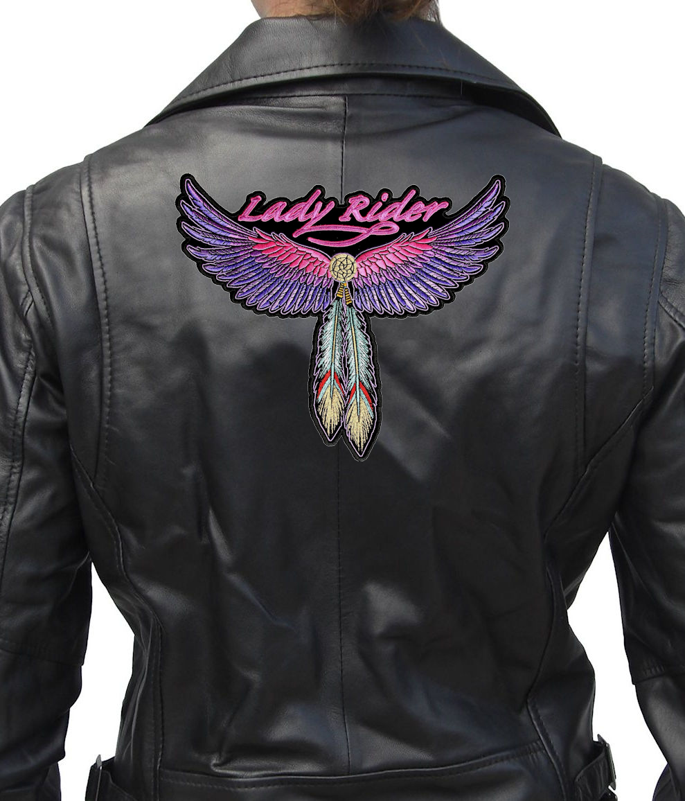 Lady Rider Wings Feathers Embroidered Biker Patch Large FREE SHIP