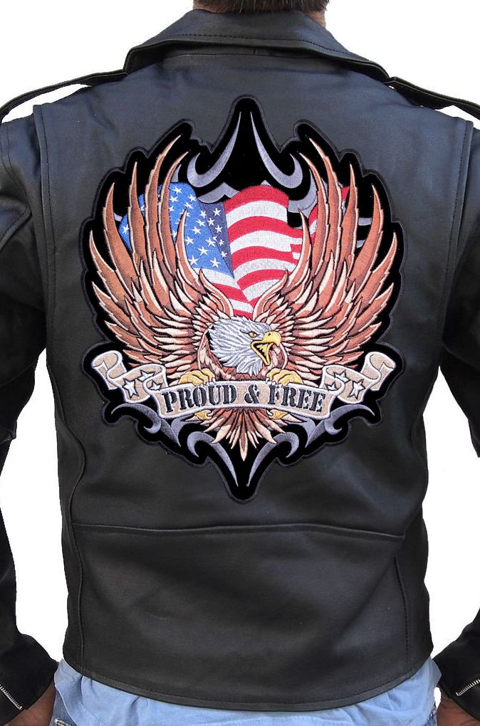 Large American Flag Eagle Proud And Free Embroidered Biker Patch FREE SHIP | EBay