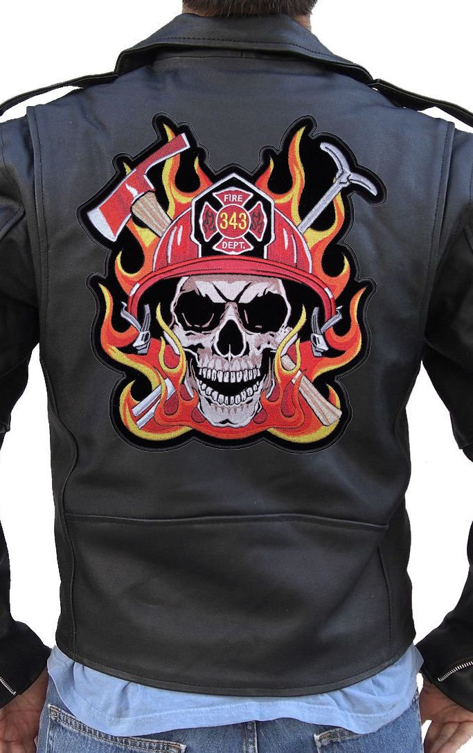 Skull patches for leather jackets