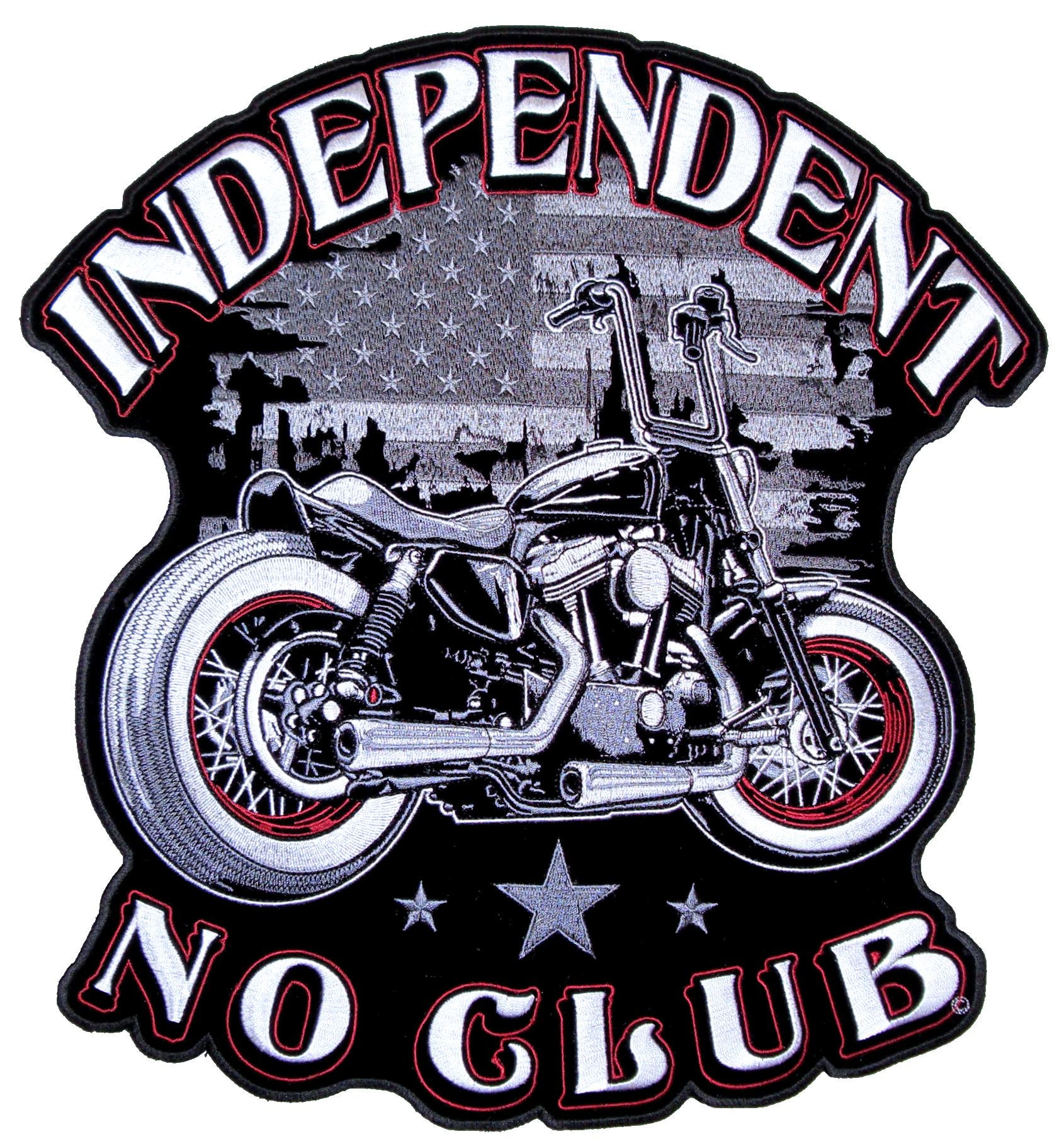 Patriotic Mens Independent No Club Motorcycle American Flag Biker