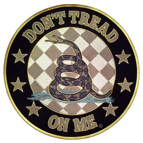 LARGE Don/'t Tread On Me Embroidered Back Patch Iron On Sew On Flag Biker