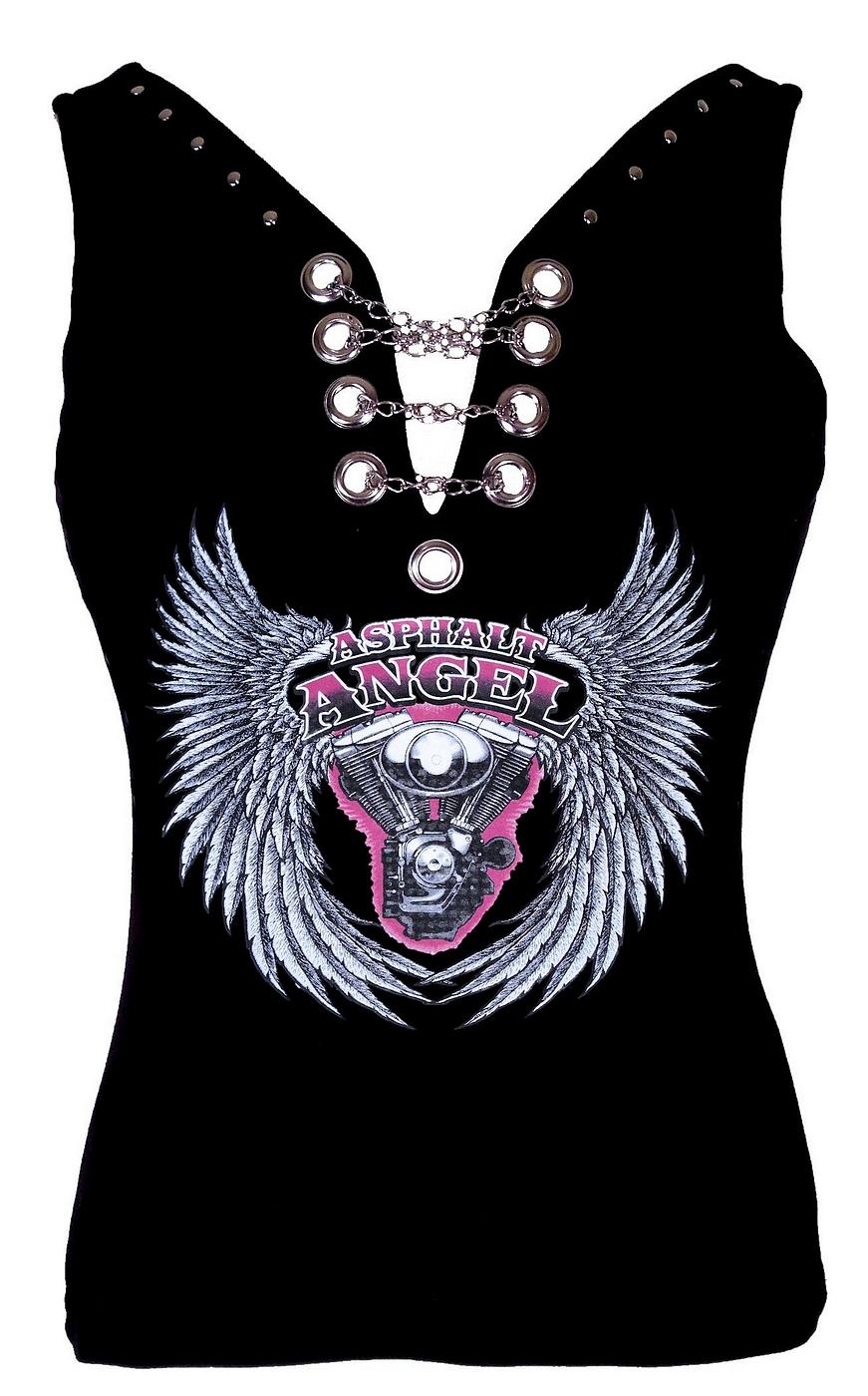 womens asphalt wings biker halter tank top