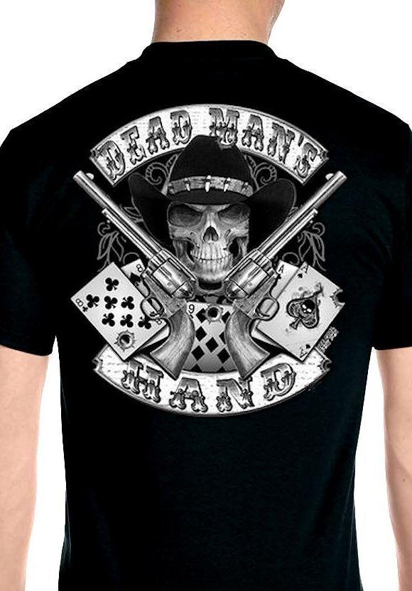 mens aces and eights dead mans hand cowboy skull hanes. Black Bedroom Furniture Sets. Home Design Ideas
