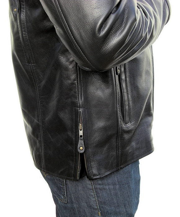 1096 Mens Soft Leather Sports Motorcycle Vest Fabric Lining Tall Big