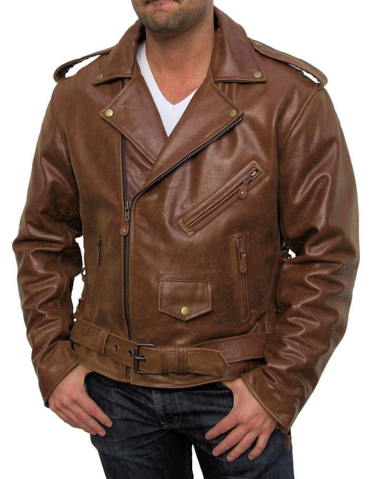 mens retro brown leather motorcycle jacket