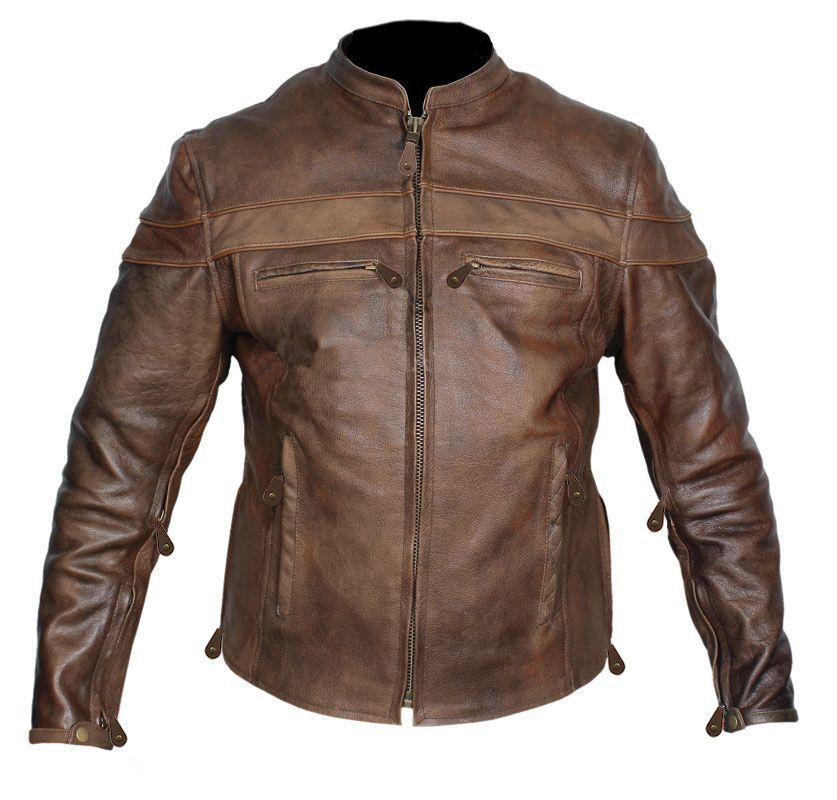 Retro brown buffalo hide leather jacket