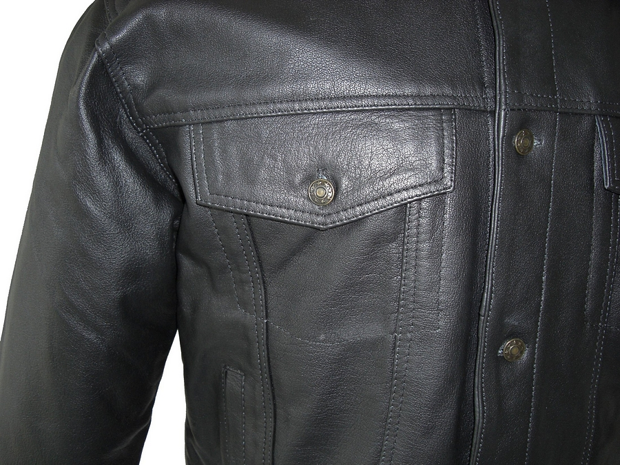 Mens Black Buffalo Hide Leather Jacket In Denim Jacket Style 6 ...