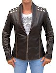 womans leather studded jacket