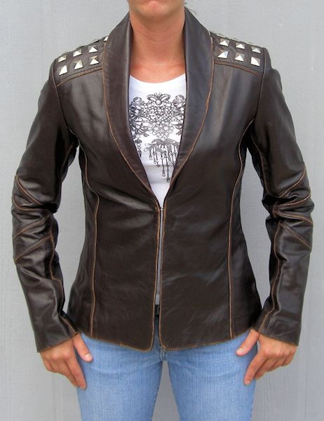 Ladies fashion studded leather jacket