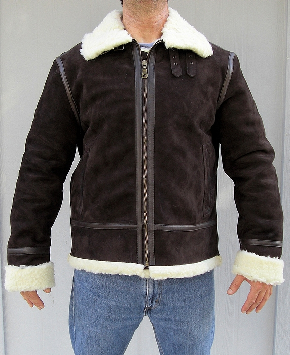 mens shearling sheepskin leather bomber jacket