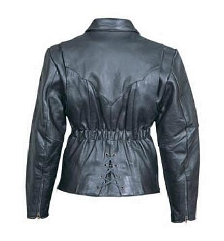 Ladies leather pattern leather motorcycle jacket