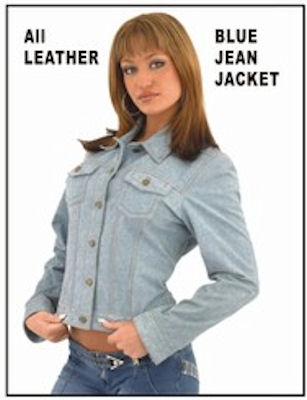 Women's real leather denim look jacket