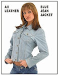Woman's denim look leather jacket