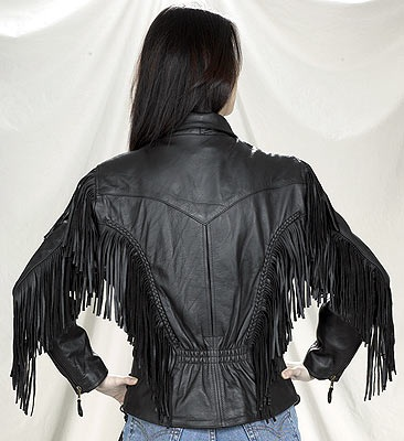 Womens fringe leather jacket