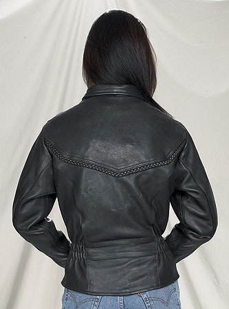 Ladies quality leather naked motorcycle jacket