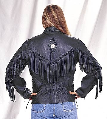 Ladies western fringe naked leather motorcycle jacket