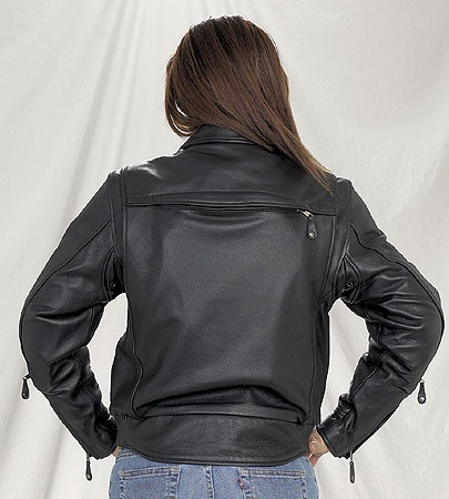 Ladies quality leather motorcycle jacket