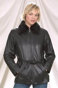 womens leather coat with faux fur collar