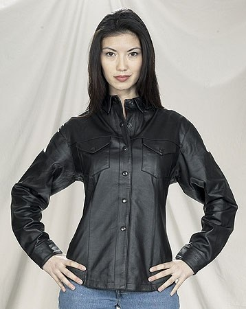 Women's leather shirt with snaps