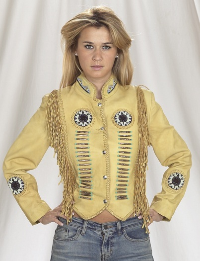 Ladies western style tan leather fringe jacket with studs, beads