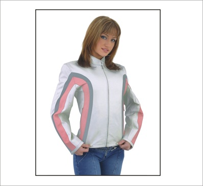 Ladies white with pink & silver stripes leather motorcycle jacket