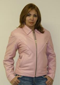 Ladies pink leather motorcycle jacket