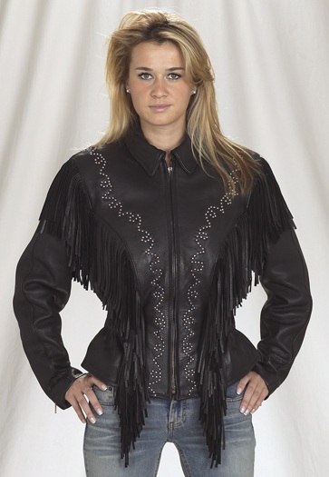 Womans leather jacket with studs and fringe