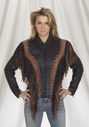 Ladies brown fringe leather jacket