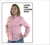 ladies pink leather shirt