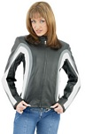 womens grey and white leather jacket