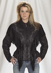 womans stud, fringe leather jacket
