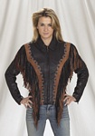 womans leather fringe jacket