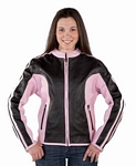 womans pink leather jacket