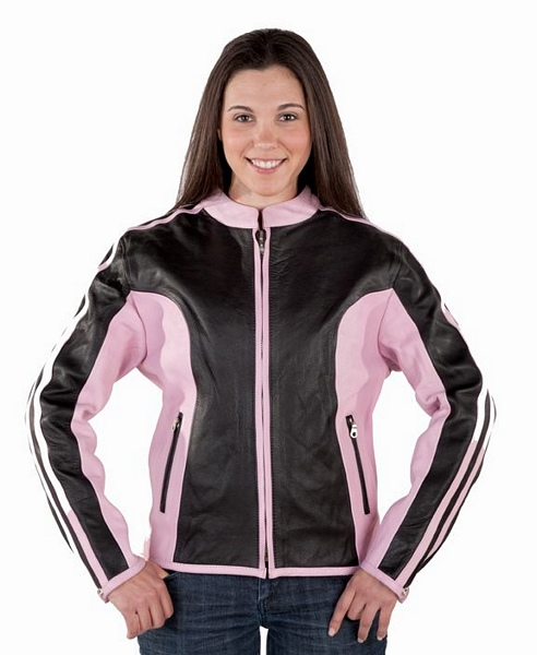 Womens pink and black leather riding jacket