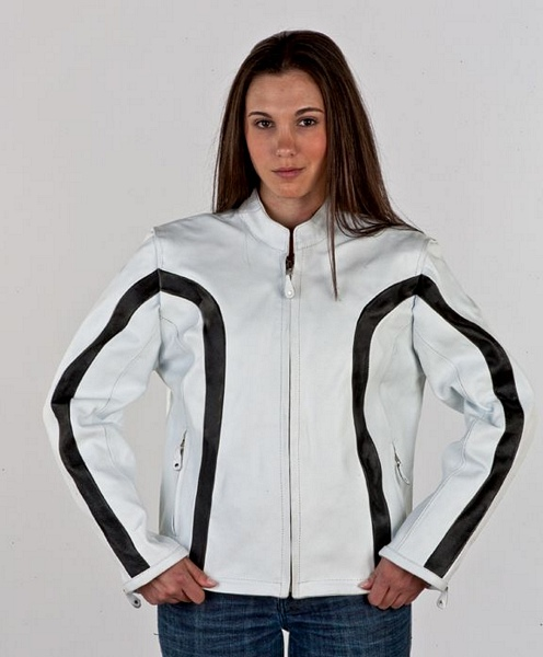 Womans leather white w black stripe jacket Item LJ236-white
