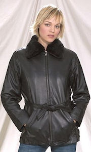 Womens short warm winter leather coat