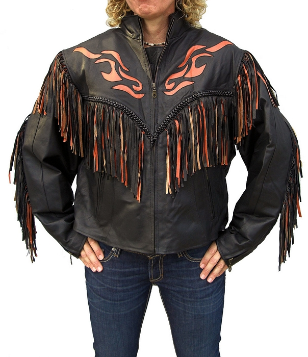 Ladies western fringe orange flame leather motorcycle jacket