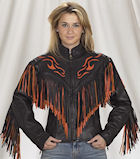 flame fringe leather jacket