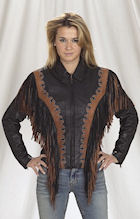 Womens brown fringe leather jacket