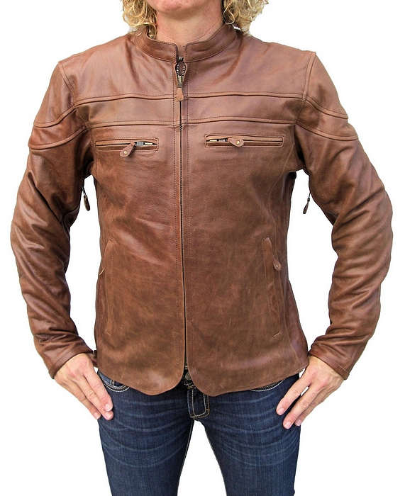 Ladies retro brown leather jacket