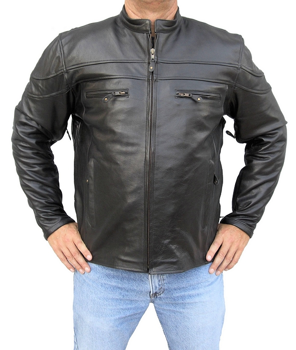 mens cafe leather racer jacket