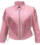 ladies pink leather jacket